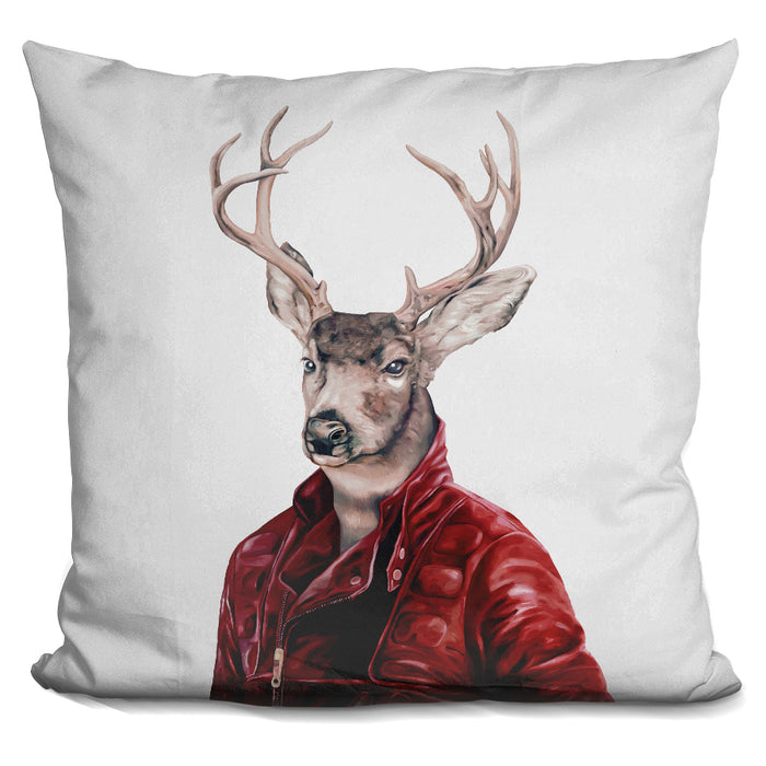 Deer In Leather Pillow