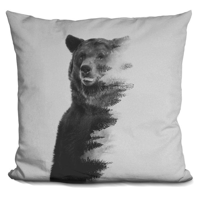 Observing Bear Black & White V Pillow