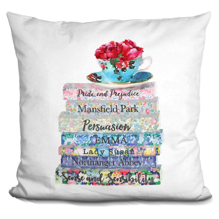 Austin Books Tea Cup Deep Peony Pillow