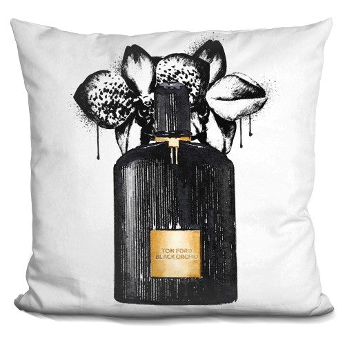 Perfume Black Bottle Drip Painting Orchid Pillow