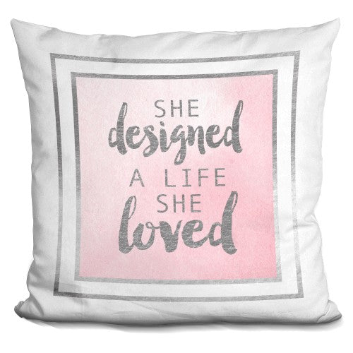 She Designed A Life Pink Silver Pillow