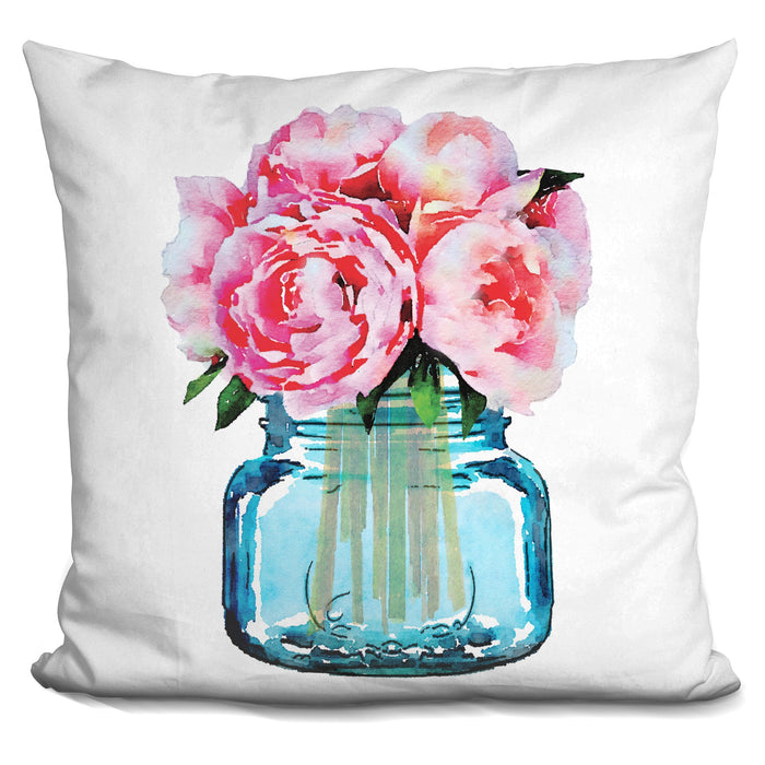 Mason Jar Peonies Pillow