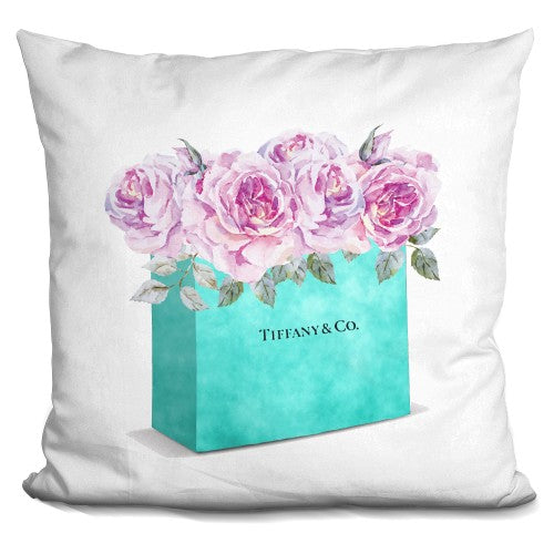 Shipping Bag Teal Pink Roses Pillow
