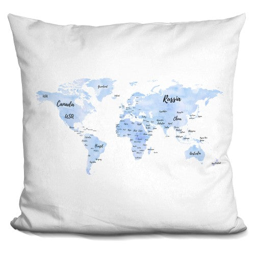 World Map Blue With Countries Pillow