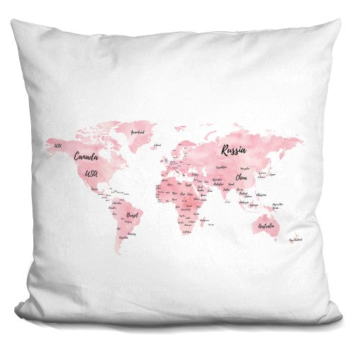 World Map Pink Pillow