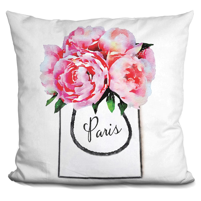 Shopping Bag Peonies Paris Pillow