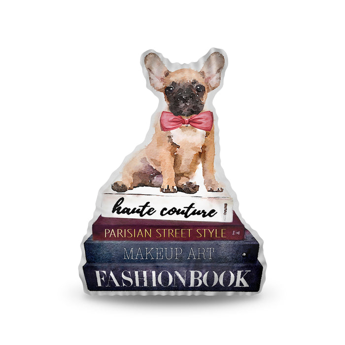 Frenchie Books Pillow