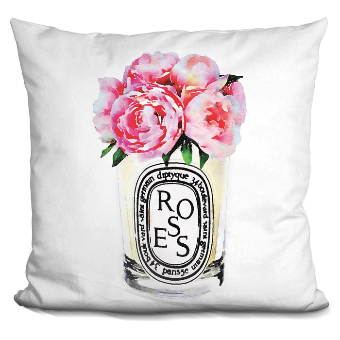 Candle Flowers Pink Roses Pillow