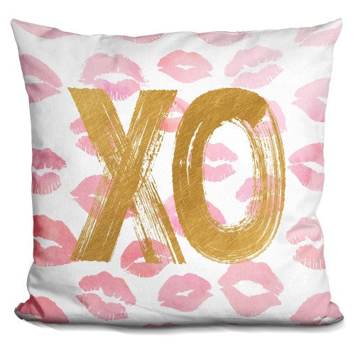 Kisses With Lips Pink Gold Pillow