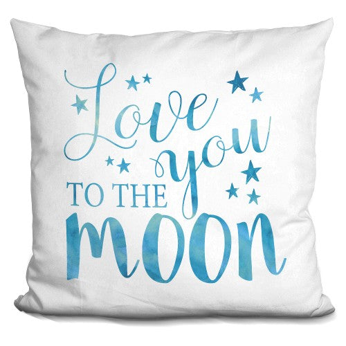 Love You To The Moon Blue Pillow