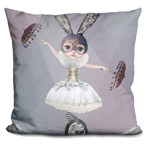 Miss Lily Rabbit At Circus Tight Rope Spotlight Pillow