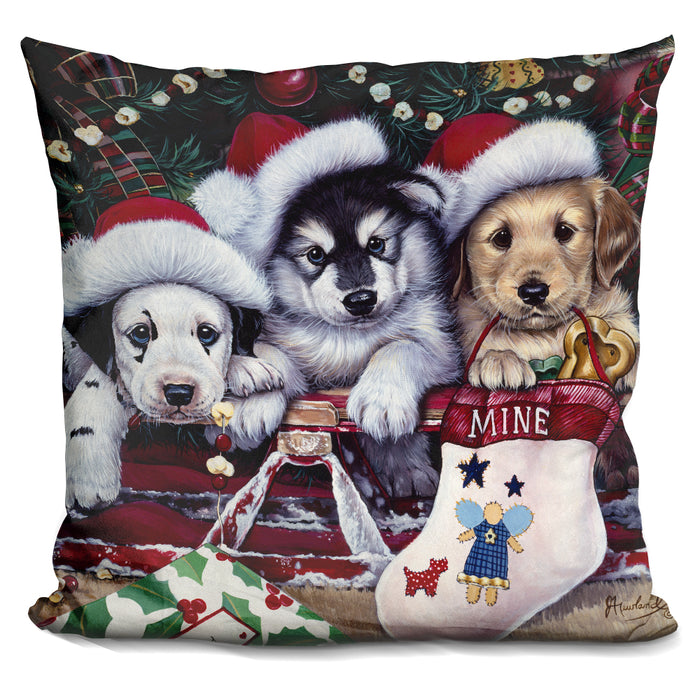A Tail Wagging Christmas Pillow