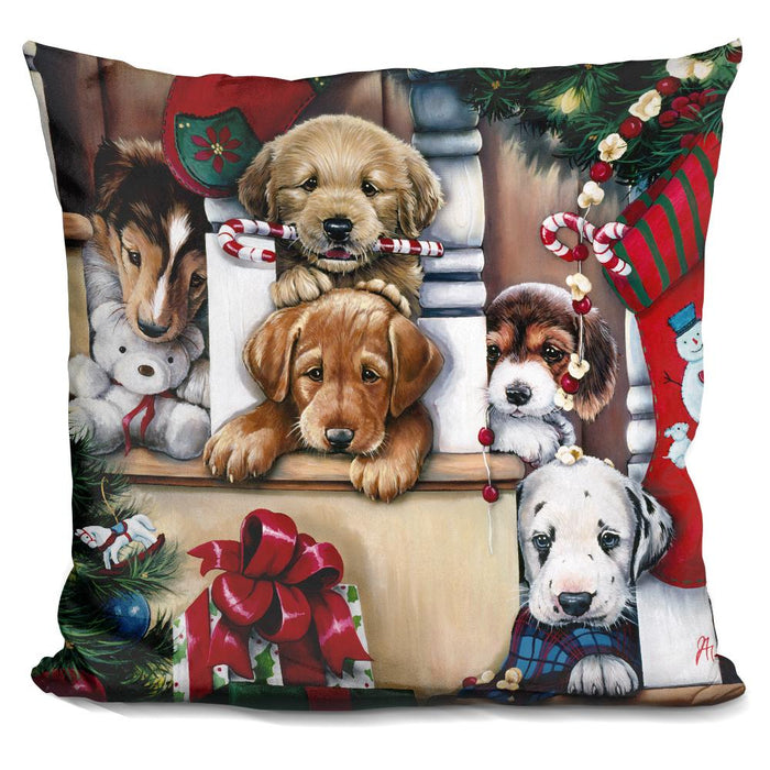 Christmas Puppies On The Loose Pillow