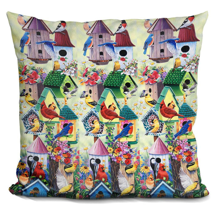 Birdhouses And Birds Tower Pillow