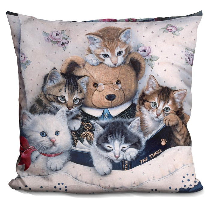 Kittens And Teddy Bear Pillow