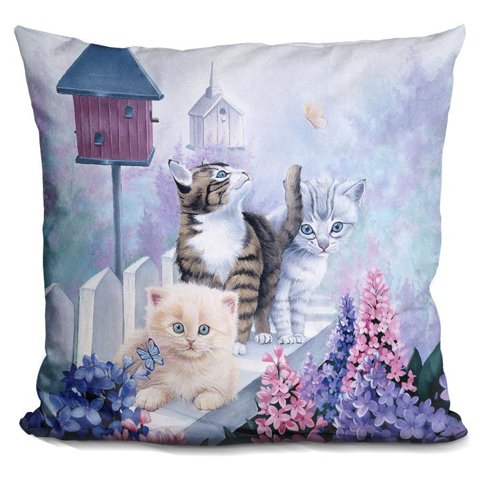 Cats In Front Of The Birdfeeder Pillow