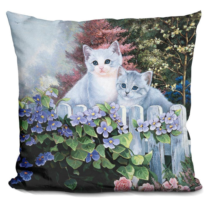 Kittens In The Master'S Garden Pillow