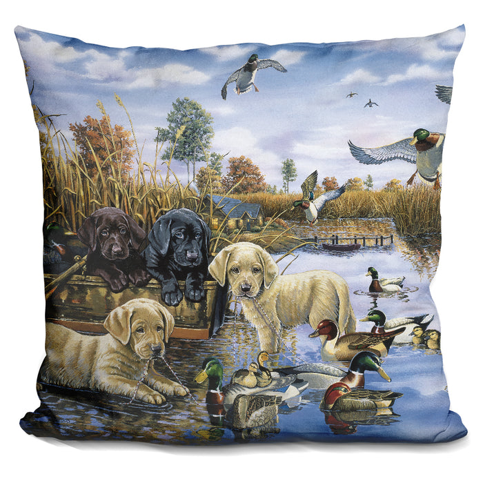 A Playful Tail Waggin' Day Pillow
