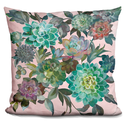Floral Succulents V2 On Pink Pillow