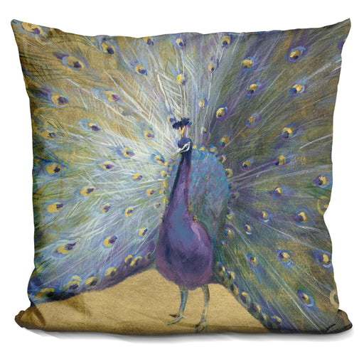 Purple and Gold Peacock Pillow