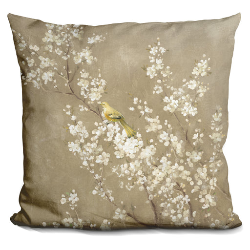 White Cherry Blossom II Neutral Crop Bird Pillow