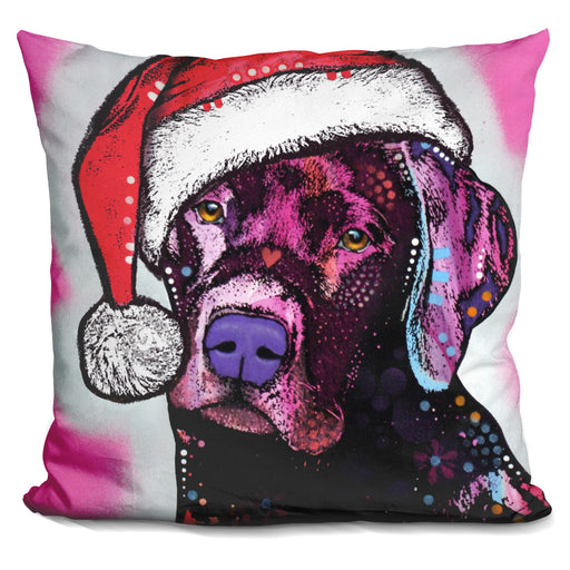 Black Lab Christmas Pillow