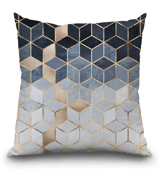 Soft Blue Gradient Cubes Pillow