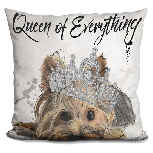 Queen Of Everything Yorkie Pillow