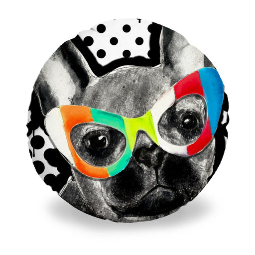 Frenchie In Sunglasses Round Pillow