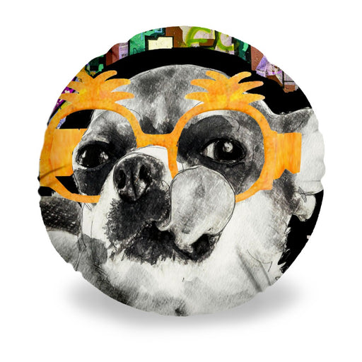 Chihuahua In Sunglasses Round Pillow