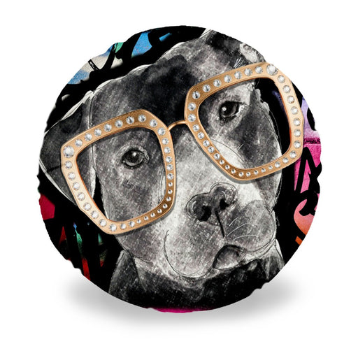 Pit Bull In Sunglasses Round Pillow