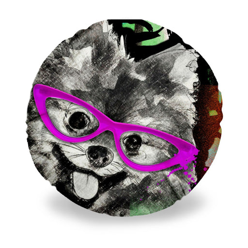 Pomeranian In Sunglasses Round Pillow