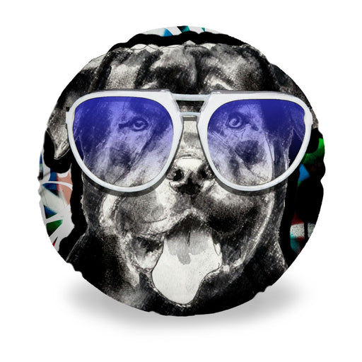 Rottweiler In Sunglasses Round Pillow