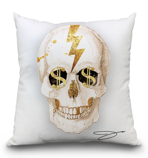 Money White Skull Pillow