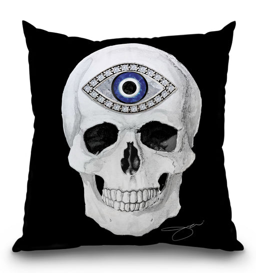 Protection Skull White Pillow