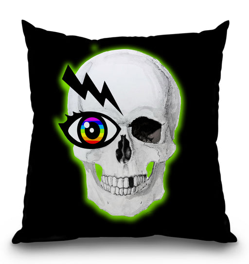 Rainbow Eye Glow Skull Pillow