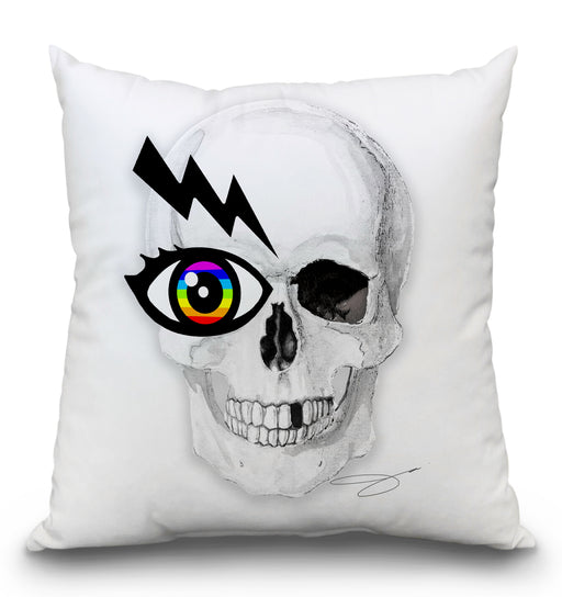 Rainbow Eye Skull Pillow