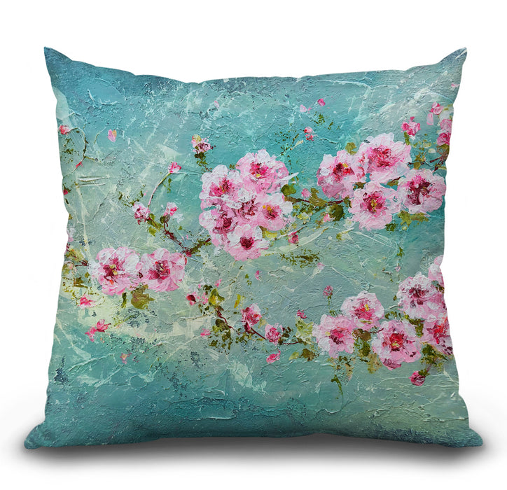 Pink Cherry Blossoms Pillow