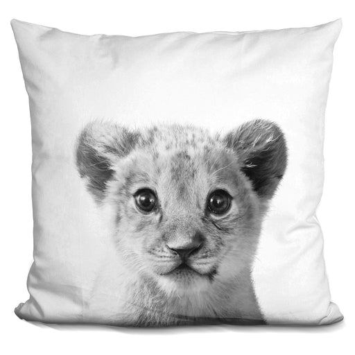 Baby Lion Bw Pillow