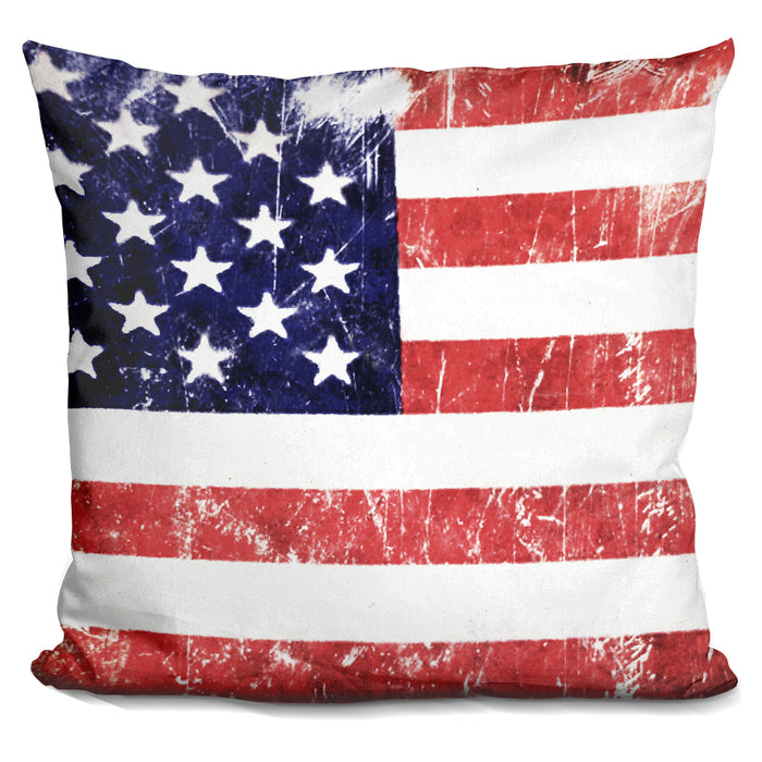 American Grunge Flag Pillow
