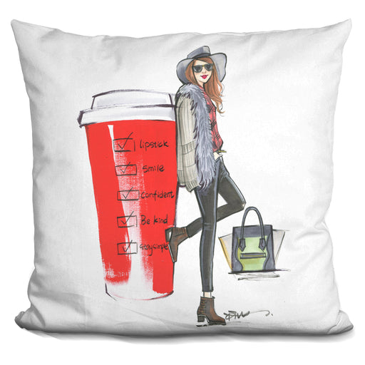 Red Cup Check List Pillow