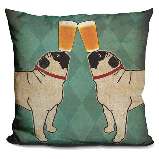 Pug and Pug Brewing Square no Words Pillow