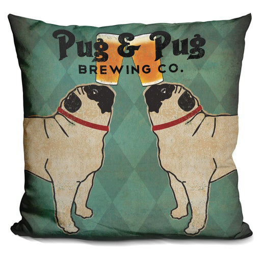Pug and Pug Brewing Square Pillow
