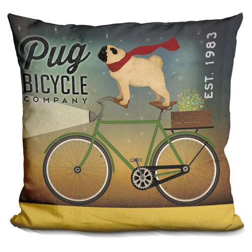 Pug on a Bike Pillow