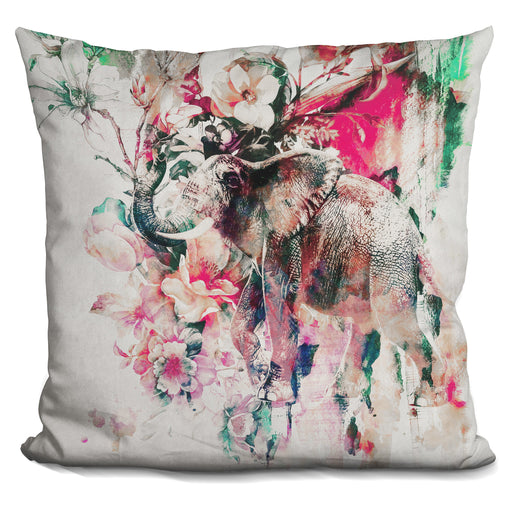 Watercolor Elephant And Flowers Pillow