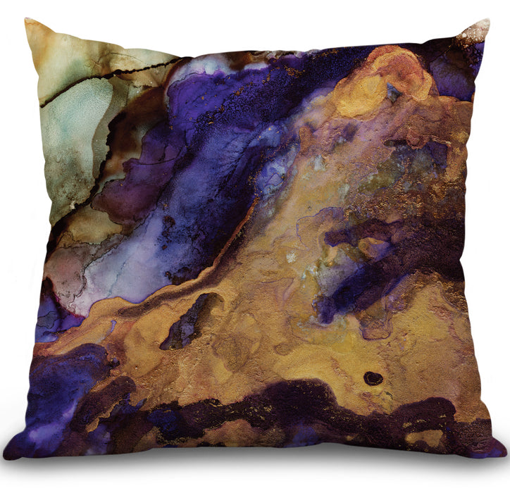 Purple and Gold Abstract Pillow