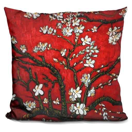Almond Blossom Red Pillow