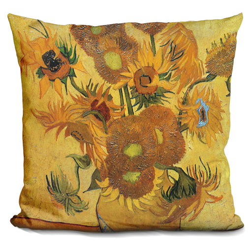 Vase With Fifteen Sunflowers Pillow