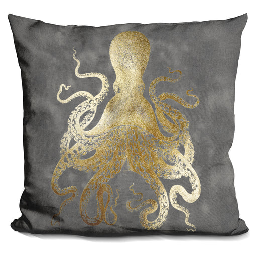 Gold Foil Octopus Ii Pillow