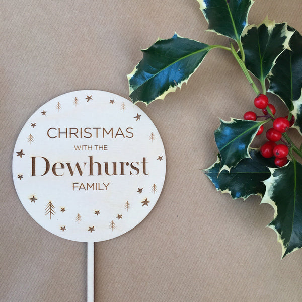 PERSONALISED FAMILY CHRISTMAS CAKE TOPPER